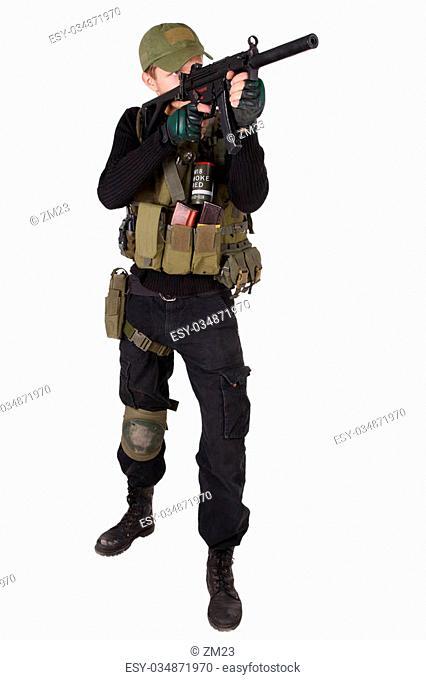 mercenary with mp5 submachine gun isolated on white