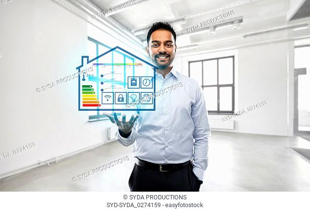 realtor with smart home projection at empty office