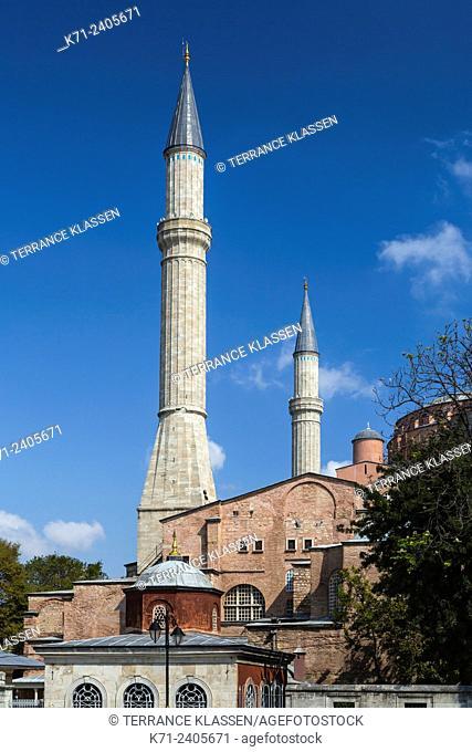 Minarets of the Hagia Sophia Museum in Sultanahmet, Istanbul, Turkey, Eurasia