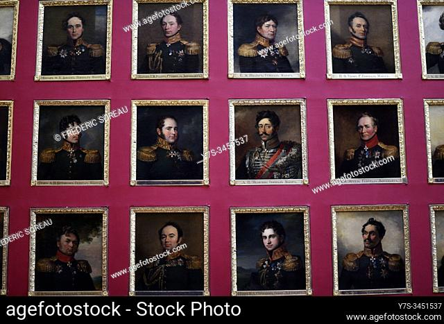 The portrait gallery of the 1812 war heroes in the Hermitage museum, St Petersburg Russia, Europe