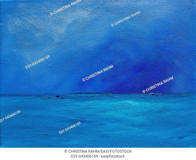 Blue shades sky and ocean abstract saturated oil paint texture background with visible brush strokes