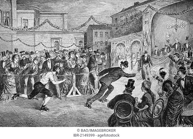 At the central skating rink in Berlin, Germany, historic wood engraving, ca. 1880