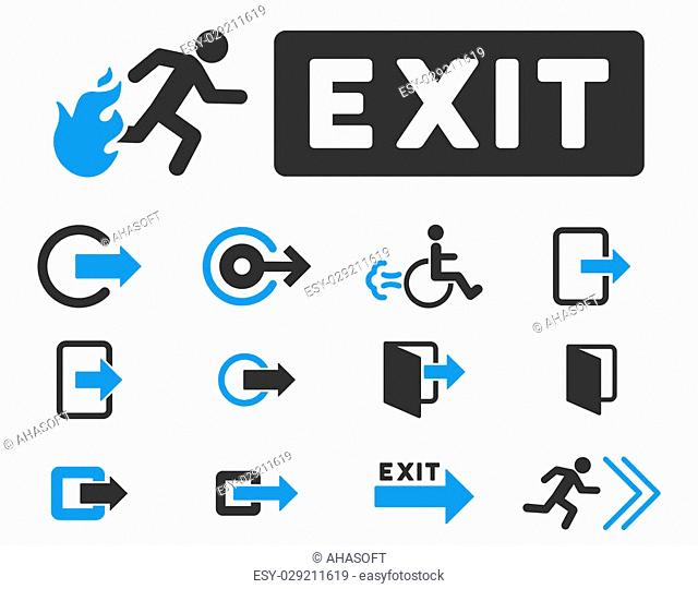 Fire Exit raster icon set. Style is bicolor blue and gray flat symbols isolated on a white background