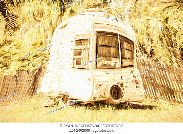 Creative digital painting of a bubble shaped camper van on a summer scene. Retrod the comic caravan