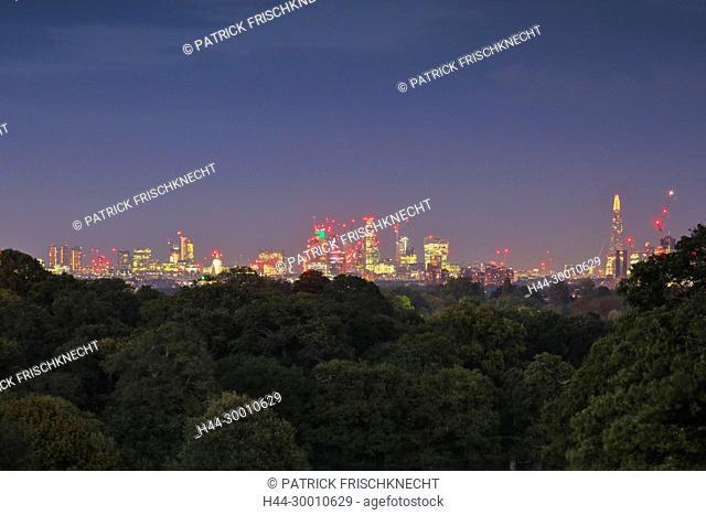 London Skyline bei Nacht, Aussicht Richmond Park
