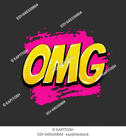 omg, oops, ouch hand drawn pictures effects. Template comics grunge speech bubble brush halftone dot background. Pop art style