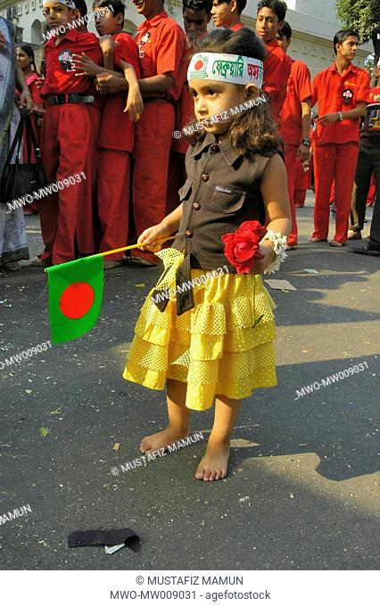 A child at the Central Shahid Minar in Dhaka, a monument for the martyrs of the language movement during in 1952, on International Mother Language Day On...