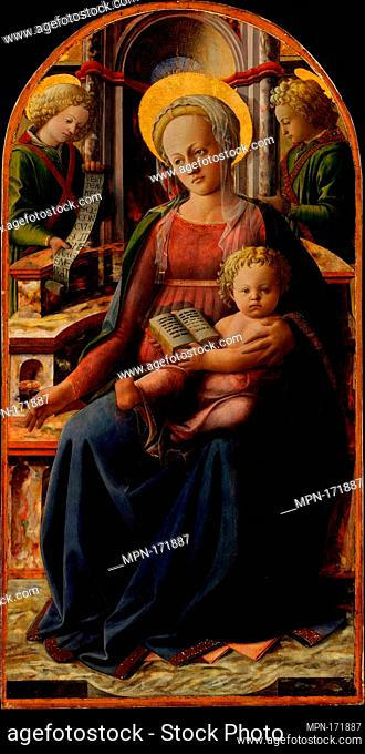 Madonna and Child Enthroned with Two Angels. Artist: Fra Filippo Lippi (Italian, Florence ca. 1406-1469 Spoleto); Medium: Tempera and gold on wood