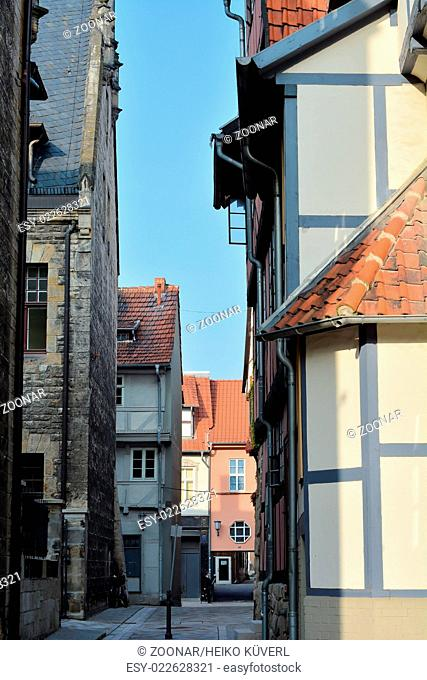 alley in the Old Town of Quedlinburg