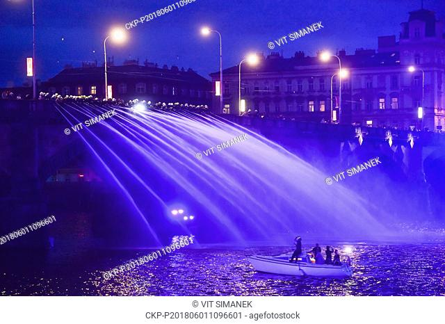 Some 1,000 firefighters from across the country create a musical fountain on the Vltava River (Moldau) in Prague, during a rehearsal on Friday, June 1st, 2018