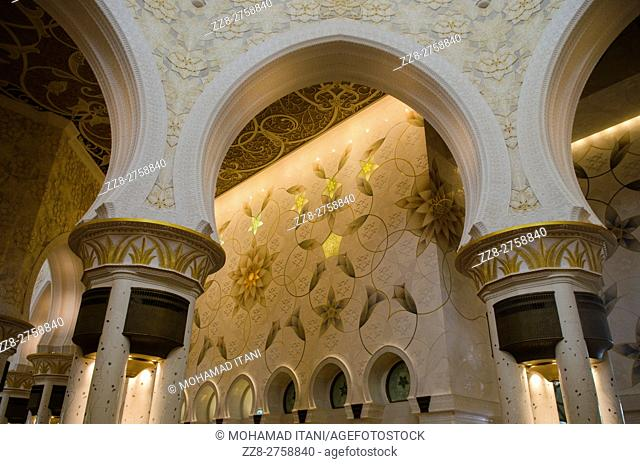 Interiors of Sheikh Zayed Grand Mosque building exteriors Abu Dhabi United Arab Emirates