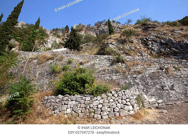 the ruins of the fortress of St. Ivan of Kotor. Montenegro