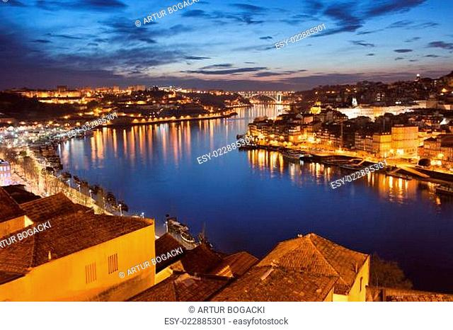 City of Porto at Night in Portugal