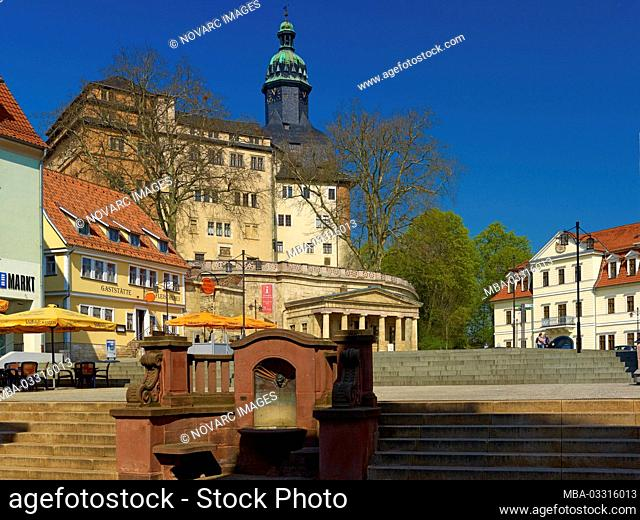 "Market with Sondershausen Castle, Kyffh""userkreis, Thuringia, Germany"