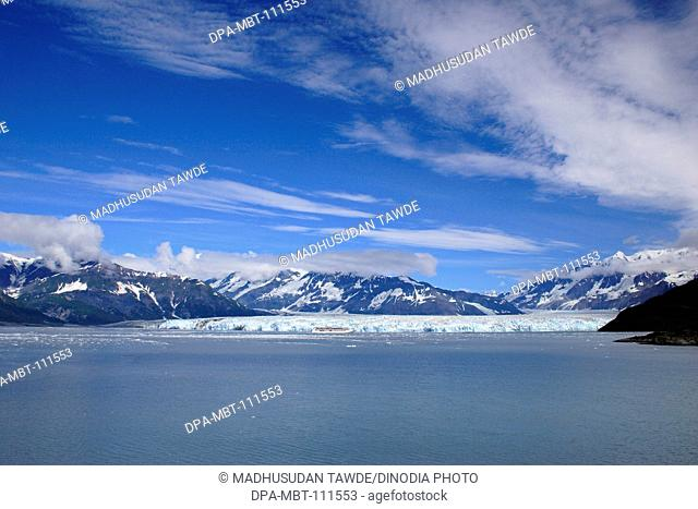 Hubbard glacier and Saint Elias mountain; the longest tidewater glacier in Alaska; Saint Elias  national park ; disenchantment bay ; Alaska ; U.S.A