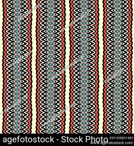 Wavy pattern in ethnic colors. Algorithmic seamless pattern