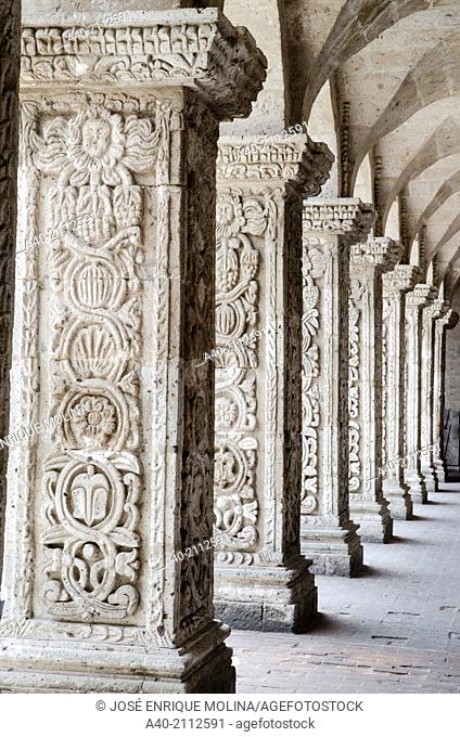 Church and cloister of the Society of Jesus 1698. Arequipa. Peru.UNESCO World Heritage Site