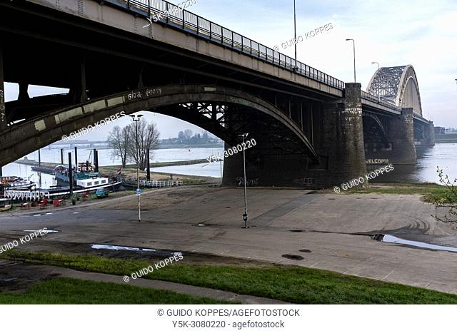 Nijmegen, Netherlands. Iconic Waalbridge, connecting down town with surrounding urban and residential area's and neighborhoods