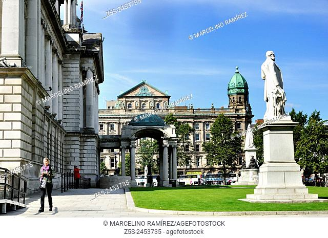Belfast City Hall is the civic building of Belfast City Council. Located in Donegall Square, Belfast, County Antrim, Northern Ireland, UK