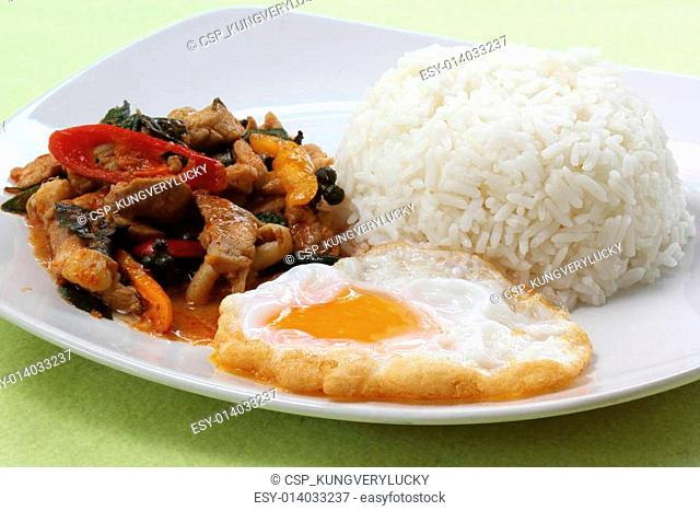 Chicken panang curry with rice