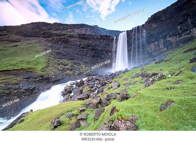 Fossa waterfall, Sunda municipality, Streymoy Island, Faroe Islands, Denmark, Europe