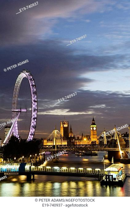 River Thames & London skyline & Millennium Wheel & Houses of Parliament