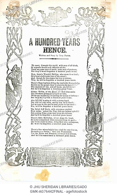 "Broadside from the American Civil War entitled """"A Hundred Year Hence"""", listing many contemporary key figures who will soon be forgotten"