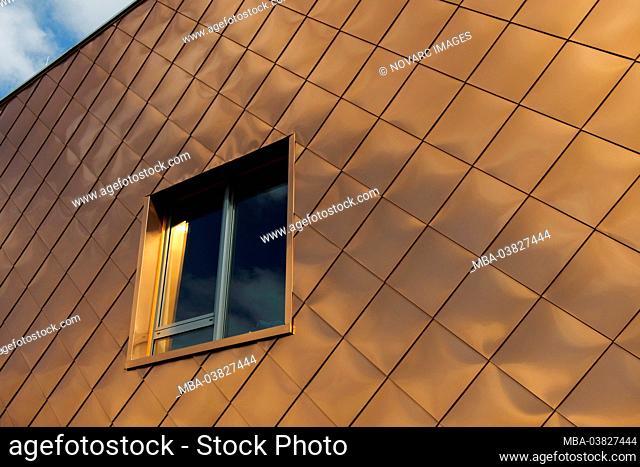 Copper facade, climbing center, IGS, International Garden Show, Wilhelmsburg, Hamburg, Germany