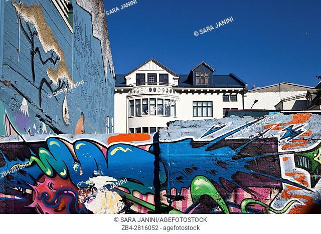 Graffities near Laugavegur Street, Reykjavik, Iceland