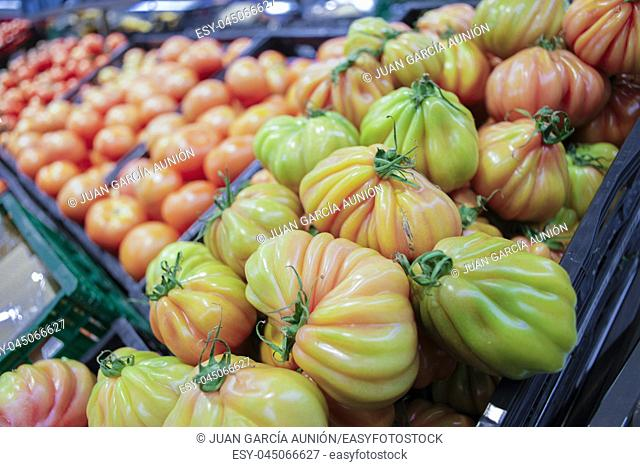 Colorful Beefsteak tomatoes tomatoes on display at supermarket. Closeup