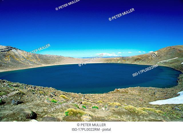 volcanic lake and blue sky