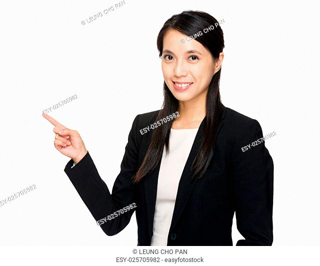 Young businesswoman with finger up