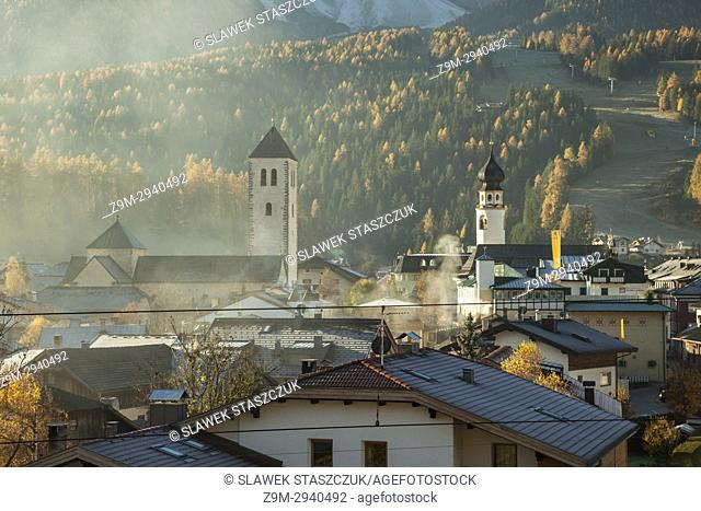 Autumn morning in San Candido (Innichen), South Tyrol, Italy