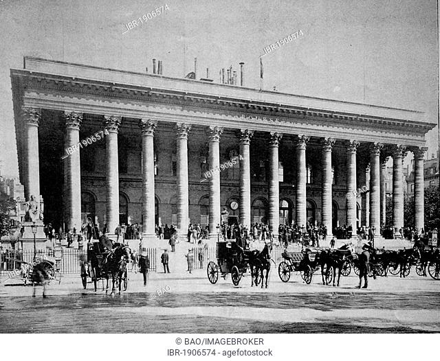 Early autotype of the stock exchange in Paris, France, 1880