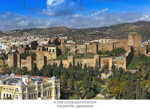 Panoramic view with Alcazaba, Malaga, Region of Andalusia, Spain, Europe