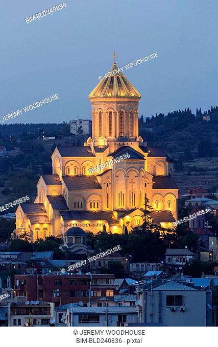 Illuminated church at night in Tbilisi, Georgia