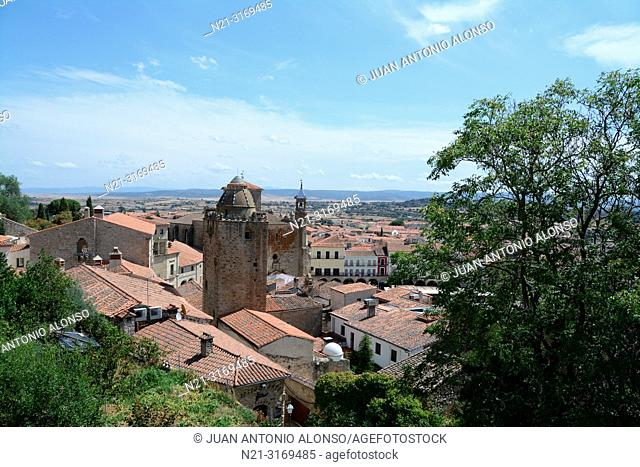 Partial view of Trujillo from the walled city. We can see the Torre del Alfiler and beyond, San Martin Church.Trujillo, Caceres, Extremadura, Spain, Europe