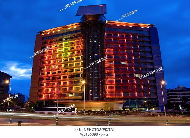 Facade of Puerta América Hotel, evening view, America Avenue, Comunidad de Madrid, Spain, Europe