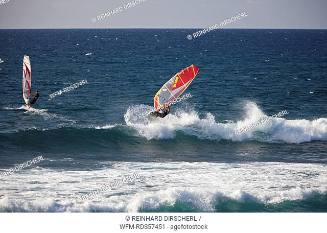 Windsurfer at Hookipa Beach, Maui, Hawaii, USA
