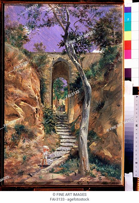 Bridge in Vico. Ge, Nikolai Nikolayevich (1831-1894). Oil on paper. Russian Painting of 19th cen. . 1858. State Tretyakov Gallery, Moscow. 45, 5x30