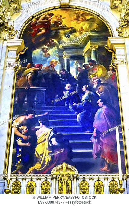 Presentation of Our Lady By Luca Giordano late 1600s Santa Maria della Salute Church Basilica Dome Venice Italy. Church competed in 1681 dedicated to our Lady...