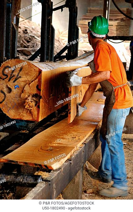 Worker riving log in a sawmill, Rio Branco, Acre, 2011