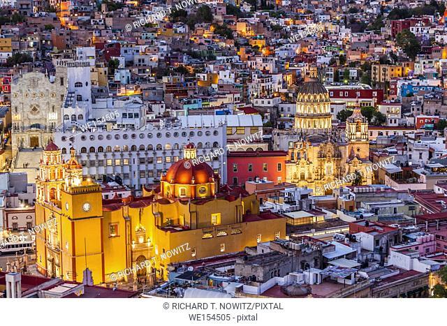 High angle view of the yellow church of Parroquia de Basílica Colegiata de Nuestra Señora de Guanajuato, the Cathedral of Guanojuato, Mexico