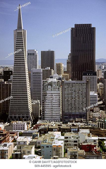 Cityscape view of San Francisco looking towards the Trans-American Pyramid. California, USA