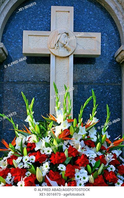 cross, cemetery of Poblenou, Barcelona, Catalonia, Spain