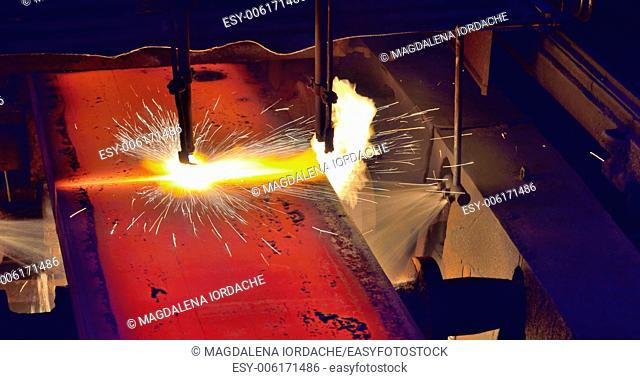 metal cutting with autogenous, close-up from machinery industry