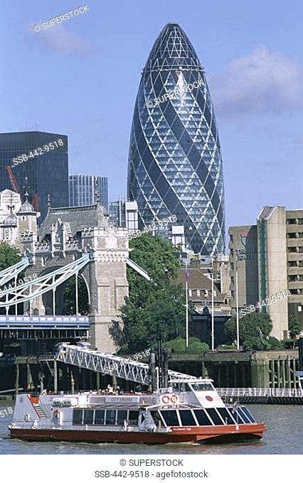 Tour Boat and Thames River 30 St Mary Axe by Sir Norman Foster London England