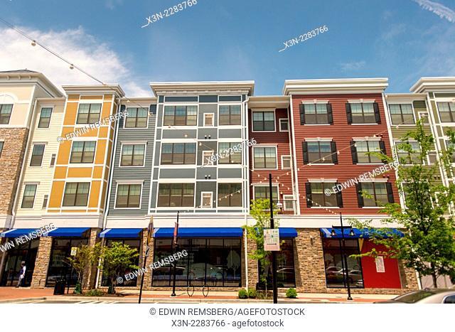 Urban renewal showing shopping and town homes at Rhode Island Row in Washington DC, USA