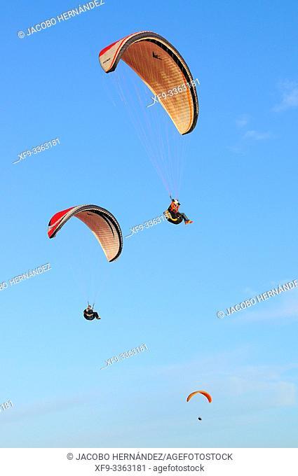 Paragliding in Matalascañas. Doñana Natural Park. Huelva province. Andalusia. Spain