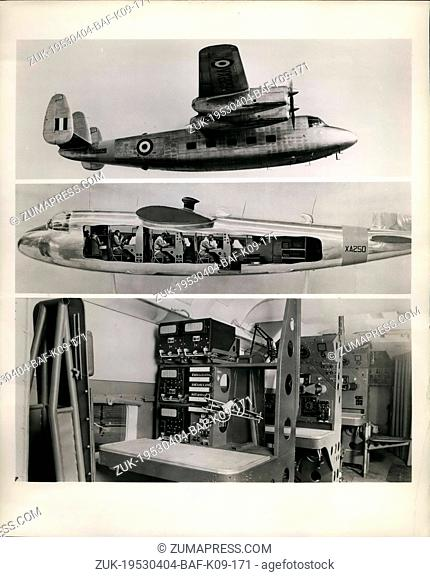 Apr. 04, 1953 - Thirty Handley Page Marathons will soon be in service with the Royal Air Force as advanced navigation trainers